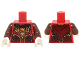 Part No: 973pb1821c01  Name: Torso Vest with Dark Red and Gold Armor with Black Straps, Scales, Fire Chi Emblem and Cape with Buckle Pattern / Reddish Brown Arms / White Hands