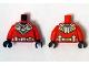 Part No: 973pb1841c01  Name: Torso Batman 'R' Symbol, Silver and Gold Diving Suit Pattern / Red Arms / Black Hands