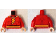 Part No: 973pb1864c01  Name: Torso Muscles Outline with Yellow Cape Clasps, Lightning Bolt and Belt Pattern / Red Arms / Light Nougat Hands