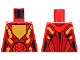 Part No: 973pb2234  Name: Torso Nexo Knights Female Armor with Orange and Gold Circuitry and Gold Dragon Head on Orange Pentagonal Shield Pattern