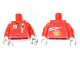 Part No: 973pb2405c01  Name: Torso Racers Ferrari front, White Streak and Shell Logo back (Stickers) without Driver Name Pattern / Red Arms / White Hands