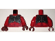 Part No: 973pb2425c01  Name: Torso Nexo Knights Female Armor Chest Plate and Dark Red Spots Pattern / Red Arms / Dark Red Hands