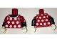 Part No: 973pb2428c01  Name: Torso Red Dress Top with White Collar and Polka Dots Front and Back Pattern / Black Arms with Red Short Sleeves with White Cuff Pattern / White Hands