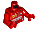 Part No: 973pb2452c01  Name: Torso Speed Champions with Shell, UPS, Ferrari and Red Santander Logo Front, Ferrari Logo Back Pattern / Red Arms / Red Hands