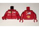 Part No: 973pb2478c01  Name: Torso Speed Champions with Shell, UPS, Ferrari and White Santander Logo Front, Ferrari and Shell Logos Back Pattern / Red Arms / Red Hands