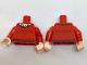 Part No: 973pb2569c01  Name: Torso Batman Sweater Crew Neck over White Shirt, 5 Birds (Robins) Pattern / Red Arms / Light Flesh Hands