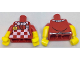 Part No: 973pb2696c01  Name: Torso Checkered Apron and White Bow Tie, Bright Light Orange Smile Button Pattern / Yellow Arms with Red Short Sleeves Pattern / Yellow Hands