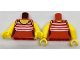 Part No: 973pb2733c01  Name: Torso Female Swimsuit with 5 White Stripes Pattern / Yellow Arms / Yellow Hands