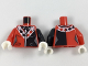 Part No: 973pb2983c01  Name: Torso Batman Female Outline with Black Scarf and Side Panel, White Collar with Diamonds Pattern / Black Arm Left / Red Arm Right / White Hands