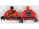 Part No: 973pb3048c01  Name: Torso Ninja Tunic with Dark Red Diamonds, Bright Light Orange Trim, Black Sash Pattern / Red Arms / Black Hands
