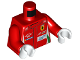 Part No: 973pb3144c01  Name: Torso Speed Champions with OMP, Ferrari, AFcorse, WEC Logo on Front, OMP, Ferrari, AFcorse, and Shell Logo on Back Pattern / Red Arms / White Hands