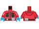 Part No: 973pb3152c01  Name: Torso Jacket with Monitor Device and Black Pockets Pattern / Red Arms / Dark Azure Hands