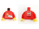 Part No: 973pb3201c01  Name: Torso Kladno 2013 Paint Brushes, Minifigure Head, LEGO Logo KLADNO Back Pattern / Red Arms / Yellow Hands