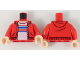 Part No: 973pb3231c01  Name: Torso Hoodie with Zipper, Light Nougat Neck, White Shirt with Red and Blue Stripes Pattern / Red Arms / Light Nougat Hands