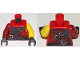Part No: 973pb3263c01  Name: Torso Ninjago Armor Chain Mail with Reddish Brown Wide Belt and Black Sash Pattern / Yellow Arm Left / Dark Red Arm Right / Black Hands