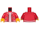 Part No: 973pb3624c01  Name: Torso Jacket over White Undershirt and Pockets Pattern / Red Arms / Yellow Hands