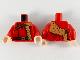 Part No: 973pb3700c01  Name: Torso Medium Dark Flesh Fur Stole, Reddish Brown Shoulder Strap and Belt with Gold Buckles Pattern / Red Arms / Light Flesh Hands