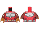 Part No: 973pb3916c01  Name: Torso Armor White with Black Muscles Outline and White Belt with Gold Buckle Pattern / Reddish Brown Arms / Pearl Gold Hands