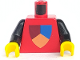 Part No: 973px47c01  Name: Torso Castle Classic Shield Tri-Colored Pattern / Black Arms / Yellow Hands