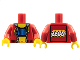 Part No: 973px78ac01  Name: Torso Studios Crop Top and Navel Pattern - LEGO Logo on Back / Red Arms / Yellow Hands