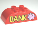 Part No: 98223pb005  Name: Duplo, Brick 2 x 4 Curved Top with Gold 'BANK' and Piggy Bank Pattern