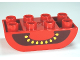 Part No: 98224pb002  Name: Duplo, Brick 2 x 4 Curved Bottom with Tomato Yellow Seeds and Black Cavity Pattern
