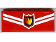 Part No: BA003pb07  Name: Stickered Assembly 6 x 1 x 2 with Fire Logo Badge and White Diagonal Stripes Pattern (Sticker) - Set 7945 - 2 Bricks 1 x 6