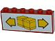 Part No: BA003pb10  Name: Stickered Assembly 6 x 1 x 2 with Boxes and Arrows Pattern (Sticker) - Sets 6377 / 6391 - 2 Bricks 1 x 6