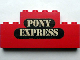Part No: BA025pb01  Name: Stickered Assembly 8 x 1 x 3 with 'PONY EXPRESS' Pattern (Sticker) - Set 365 - 2 Bricks 1 x 8, 1 Brick 1 x 4