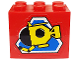 Part No: BA027pb01  Name: Stickered Assembly 3 x 2 x 2 with Divers Pattern (Sticker) - Set 6560 - 2 Bricks 2 x 3