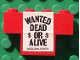 Part No: BA045pb01  Name: Stickered Assembly 4 x 1 x 2 with 'WANTED DEAD OR ALIVE' Pattern (Sticker) - Set 365 - 1 Brick 1 x 4, 1 Brick 1 x 2