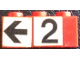 Part No: BA127pb01  Name: Stickered Assembly 3 x 1 x 1 with Black Number 2 and Arrow on White Background Pattern (Stickers) - Set 148 - 1 Brick 1 x 1, 1 Brick 1 x 2