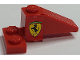 Part No: BA185pb01R  Name: Stickered Assembly 4 x 2 x 1 1/3 with Ferrari Logo On Red Background Pattern Model Right Side (Sticker) - Set 2556 - 1 Slope 33 3 x 1, 1 Plate 2 x 2 Corner