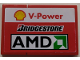 Part No: BA188pb01L  Name: Stickered Assembly 2 x 3 with Shell 'V-Power', Bridgestone and AMD Logo Pattern Model Left Side (Sticker) - Set 8142-2 - 1 Tile 1 x 2, 1 Tile 2 x 2