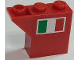 Part No: BA201pb01R  Name: Stickered Assembly 3 x 1 x 2 with Italian Flag on Red Background Pattern Model Right Side (Sticker) - Set 8157 - 1 Brick 1 x 1, 1 Brick 1 x 2, 1 Slope, Inverted 45 2 x 1
