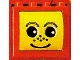 Part No: bb0051  Name: Duplo, Brick 2 x 4 x 2 with Face with Freckles in Yellow Drum