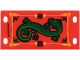 Part No: bb0130  Name: Plastic Flag 4 x 8 with Green Oriental Dragon Pattern