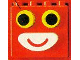 Part No: bb0975  Name: Duplo, Brick 2 x 4 x 2 with Black in Yellow Eyes and White Mouth