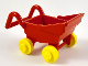 Part No: fabad3c02  Name: Fabuland Stroller Chassis with Yellow Wheel Pair Small with Center Stud fixed on Red Axle (fabad3 / fabwheel4)