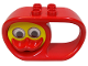 Part No: x1728cx2  Name: Duplo Rattle Teether Oval 2 x 6 x 3 with Handle and Turning Yellow Duck Face with Red Beak and Rattling Eyes