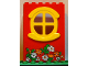 Part No: x635c02pb01  Name: Fabuland Building Wall 2 x 6 x 7 with Round Symmetric Yellow Window with Flowers Pattern (Sticker) - Set 3665