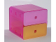 Part No: clikits181c01  Name: Clikits Container Cube Drawer Unit, with 1 Trans-Pink & 1 Trans-Light Orange Drawer