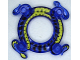 Part No: 98344pb01  Name: Ring 4 x 4 with 2 x 2 Hole and 2 Intertwined Snakes with Lime Green Pattern (Ninjago Spinner Crown)