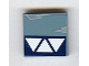 Part No: 3068bpb0140  Name: Tile 2 x 2 with Groove with 3 White Triangles, Dark Blue Stripe and Wear Marks Adjacent Pattern (Sticker) - Set 7252