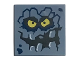 Part No: 3068bpb1087  Name: Tile 2 x 2 with Groove with Rock Creature Face with Jagged Grin, Dark Blue Spots and Yellow Eyes Pattern (Brickster)