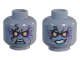 Part No: 3626cpb1844  Name: Minifigure, Head Dual Sided Alien with Yellow Eyes, Dark Purple Rock Effect, Blue Lips, Teeth, Open Mouth Angry / Evil Grin Pattern - Hollow Stud