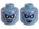 Part No: 3626cpb1916  Name: Minifigure, Head Dual Sided Alien Female with Yellow Eyes, Lightning, Purple Lips and Shading, Fangs, Smile / Wink, Lopsided Smirk Pattern - Hollow Stud