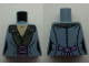 Part No: 973pb1440  Name: Torso LotR Dress with Gray Patterned Collar and Pink Sash Pattern (Arwen)