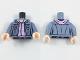 Part No: 973pb2725c01  Name: Torso Female Jacket Open over Lavender Sweater Pattern / Sand Blue Arms / Light Flesh Hands