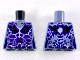 Part No: 973pb2832  Name: Torso Female Outline with Black and Dark Purple Rocks and White and Blue Lightning Effect Pattern